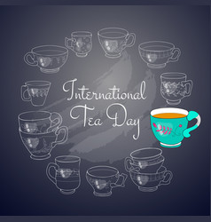 International tea day card vector