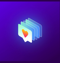 isometric like icon with heart app interface vector image