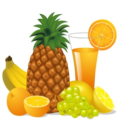 juice and fruits banana pineapple orange grape vector image vector image