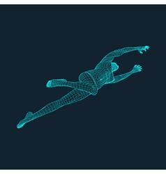 Jump Man Polygonal Design 3D Model of Man Grid vector