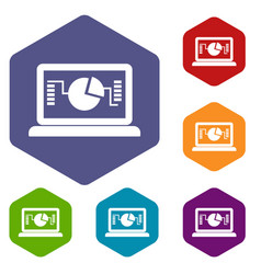 Laptop with business graph icons set vector