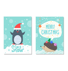 let snow greeting christmas card penguin hedgehog vector image