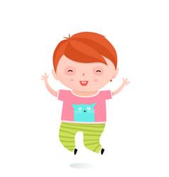 Little kid boy jumping vector