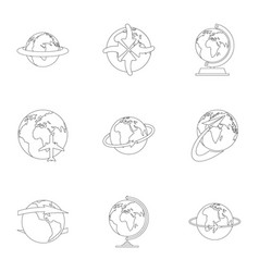 little world icons set outline style vector image