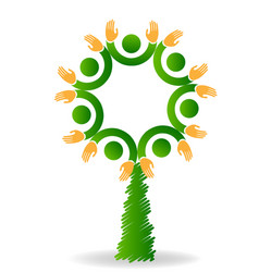 logo tree eco friendly teamwork icon vector image