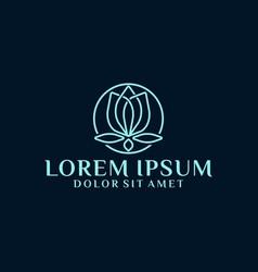 Lotus or protea flower logo template vector