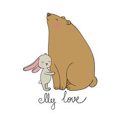 lovely cartoon bear and hare happy animals vector image