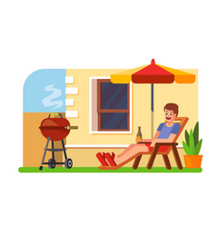 man lying with a beer on a lounger bbq vector image