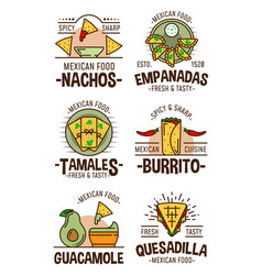 Mexican spicy food restaurant cafe icons and signs vector