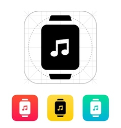 Music on smart watch icon vector image