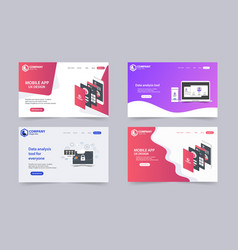 New trendy website landing pages theme template vector
