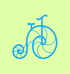 Old retro bicycle line art bike design vector