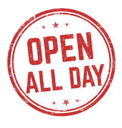 open all day sign or stamp vector image