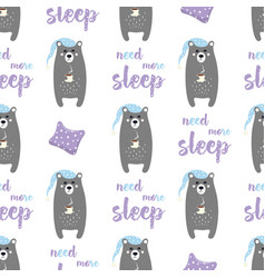 pattern with sleepy bear vector image