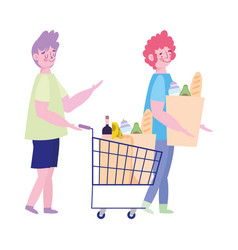 People hoarding purchase young man with shopping vector