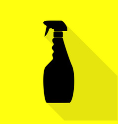 plastic bottle for cleaning black icon with flat vector image