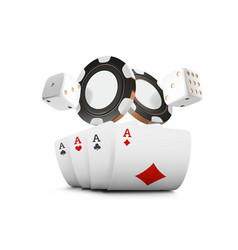 playing cards poker chips and dice fly casino on vector image