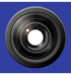 Realistic camera lens with the shutter open vector