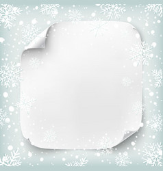 Realistic paper banner on winter background vector