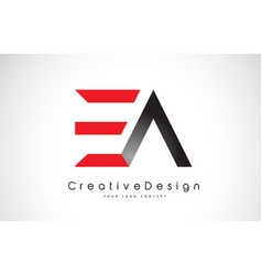 red and black ea e a letter logo design creative vector image