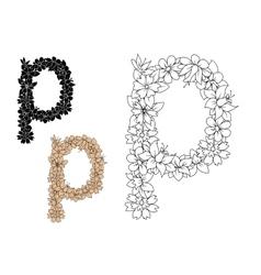 Retro floral small letter p vector image