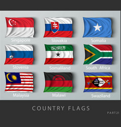 riveted country flag wrinkled with shadows vector image