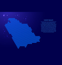 Saudi arabia map from 3d blue cubes isometric vector