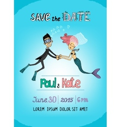 Save The Date underwater themed card vector image