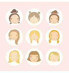 set 9 cartoon girls faces vector image
