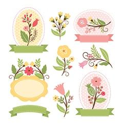 set floral bouquets and romantic frames vector image
