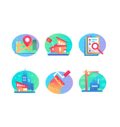 set icons with sale building house map contract vector image