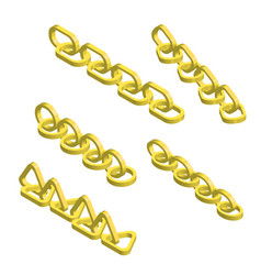 set isometric golden chains vector image
