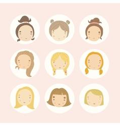 Set of 9 cartoon girls faces vector image