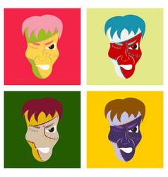 Set of flat cartoon evil frankenstein head vector
