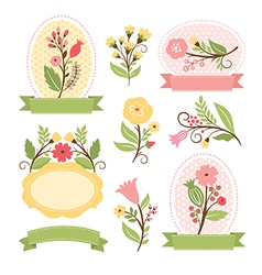 Set of floral bouquets and romantic frames vector image