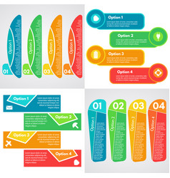set of four step by step infographic design vector image