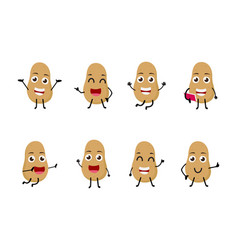 Set of funny potato vegetable cartoon character vector
