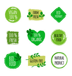 set of vegan logos badges signs hand drawn bio vector image