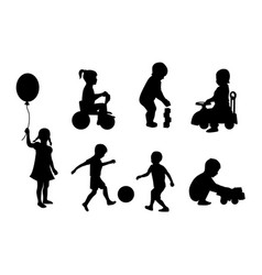 Set silhouettes children playing vector