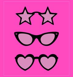 set sunglasses party fun vector image
