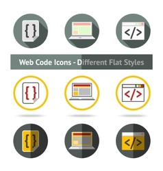 set web code icons in different flat styles vector image