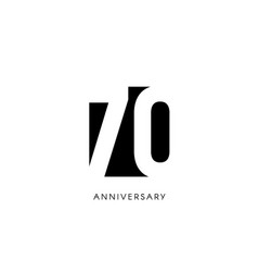 Seventy anniversary minimalistic logo seventieth vector