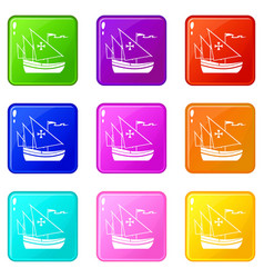 Ship of columbus set 9 vector