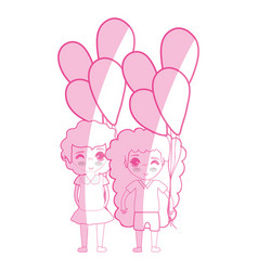 Silhouette tender pretty girls with balloons and vector