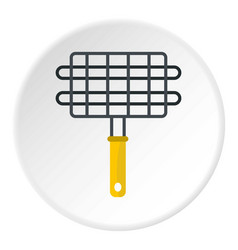 Steel grid for grill icon circle vector