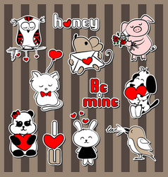 sticker about love dark background vector image