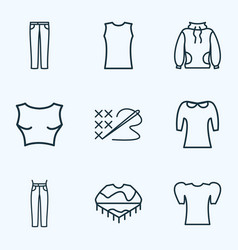 style icons line style set with high-round collar vector image