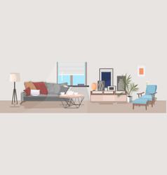 stylish home modern living room interior empty no vector image