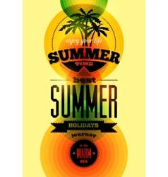 Summer time typographical retro poster vector image