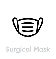 Surgical mask icon editable line vector